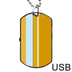 Yellow Elegant Lines Dog Tag Usb Flash (one Side)
