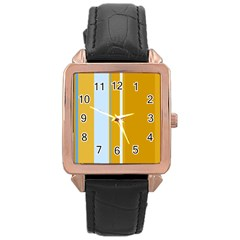 Yellow elegant lines Rose Gold Leather Watch
