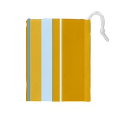 Yellow elegant lines Drawstring Pouches (Large)