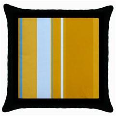 Yellow elegant lines Throw Pillow Case (Black)