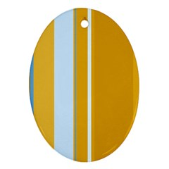 Yellow elegant lines Oval Ornament (Two Sides)