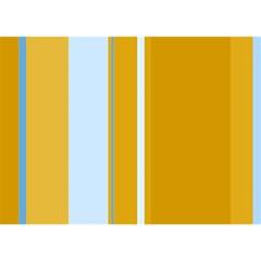 Yellow elegant lines Birthday Cake 3D Greeting Card (7x5)