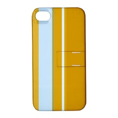Yellow elegant lines Apple iPhone 4/4S Hardshell Case with Stand