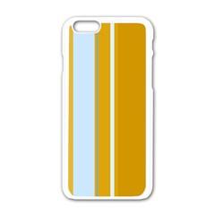 Yellow elegant lines Apple iPhone 6/6S White Enamel Case