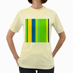 Colorful lines Women s Yellow T-Shirt