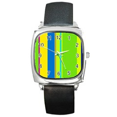 Colorful lines Square Metal Watch