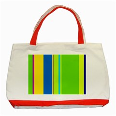 Colorful lines Classic Tote Bag (Red)