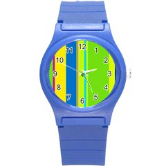 Colorful lines Round Plastic Sport Watch (S)