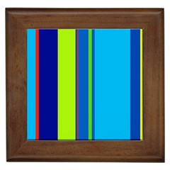 Blue and green lines Framed Tiles