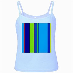Blue and green lines Baby Blue Spaghetti Tank