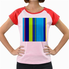 Blue and green lines Women s Cap Sleeve T-Shirt