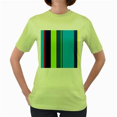 Blue and green lines Women s Green T-Shirt