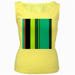 Blue and green lines Women s Yellow Tank Top