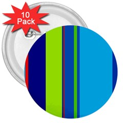 Blue and green lines 3  Buttons (10 pack)