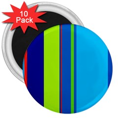 Blue and green lines 3  Magnets (10 pack)