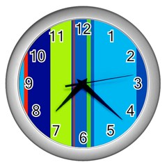 Blue and green lines Wall Clocks (Silver)