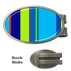 Blue and green lines Money Clips (Oval)