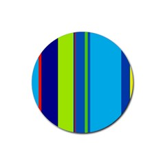 Blue and green lines Rubber Round Coaster (4 pack)