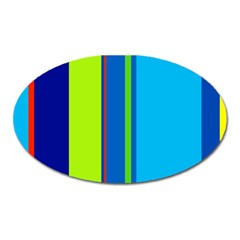 Blue and green lines Oval Magnet