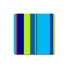 Blue and green lines Square Magnet