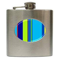 Blue and green lines Hip Flask (6 oz)
