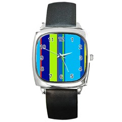 Blue and green lines Square Metal Watch