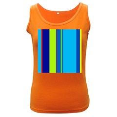 Blue and green lines Women s Dark Tank Top