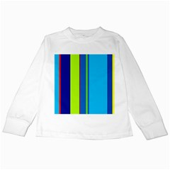 Blue and green lines Kids Long Sleeve T-Shirts