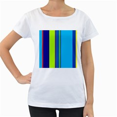 Blue and green lines Women s Loose-Fit T-Shirt (White)