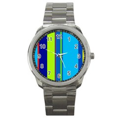 Blue and green lines Sport Metal Watch