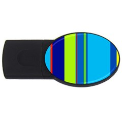 Blue and green lines USB Flash Drive Oval (4 GB)