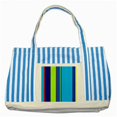 Blue and green lines Striped Blue Tote Bag