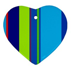 Blue and green lines Heart Ornament (2 Sides)