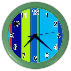Blue and green lines Color Wall Clocks
