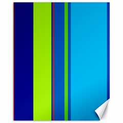 Blue and green lines Canvas 11  x 14