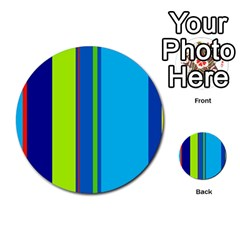 Blue and green lines Multi-purpose Cards (Round)