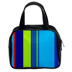 Blue and green lines Classic Handbags (2 Sides)