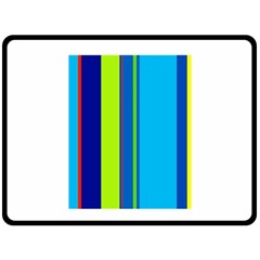 Blue and green lines Fleece Blanket (Large)