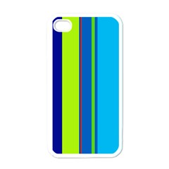 Blue and green lines Apple iPhone 4 Case (White)