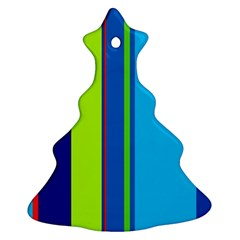 Blue and green lines Christmas Tree Ornament (2 Sides)