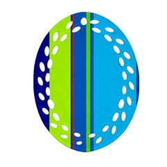 Blue and green lines Oval Filigree Ornament (2-Side)