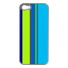 Blue and green lines Apple iPhone 5 Case (Silver)