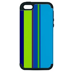 Blue and green lines Apple iPhone 5 Hardshell Case (PC+Silicone)