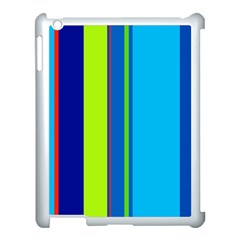 Blue and green lines Apple iPad 3/4 Case (White)