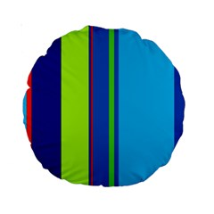 Blue and green lines Standard 15  Premium Round Cushions