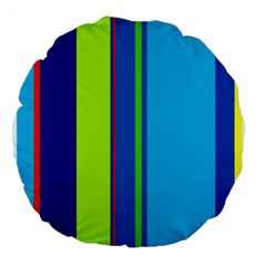 Blue and green lines Large 18  Premium Round Cushions