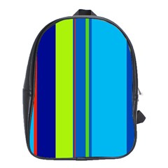 Blue and green lines School Bags (XL)