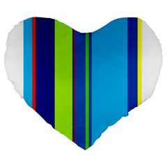 Blue and green lines Large 19  Premium Heart Shape Cushions