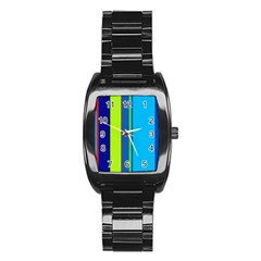 Blue and green lines Stainless Steel Barrel Watch