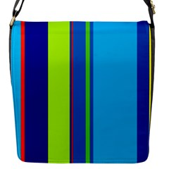Blue and green lines Flap Messenger Bag (S)